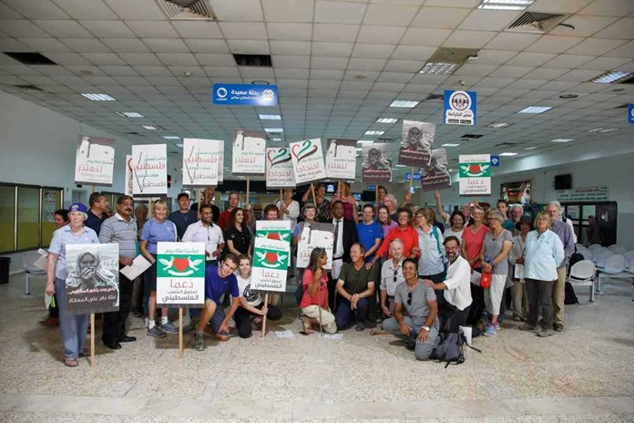The group having arrived in Jericho, inside the West Bank from Amman in Jordan.