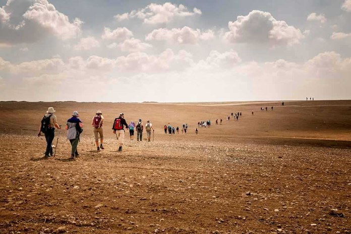 Over one hundred people walked from London to Jerusalem in 2017.