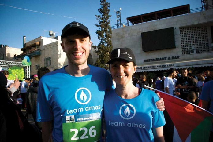 Harry Baker, and mum Jenny at the Palestine Marathon start line in April 2017