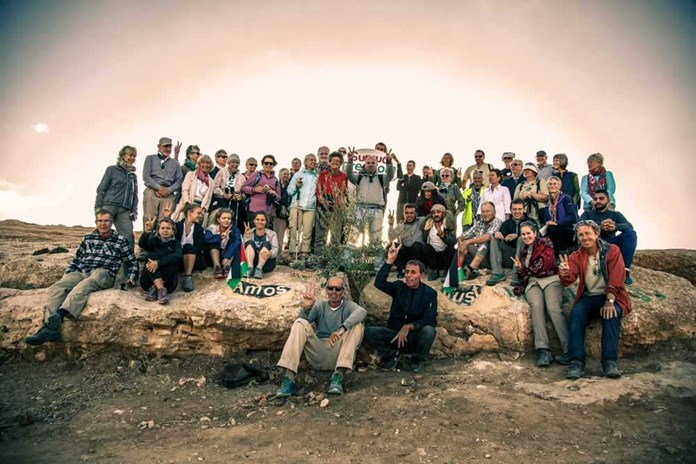 The Just Walk group visiting the Sumud Peace Camp in the South Hebron Hills – October 2017.