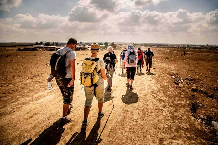 A group of people walking across the Negev desert in Israel.