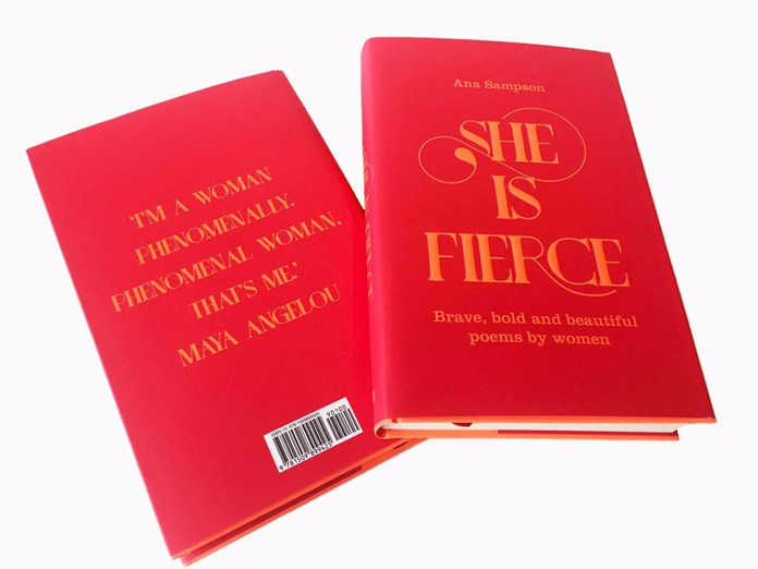 The front and back cover of Ana Sampson's 'She Is Fierce' book of poetry.