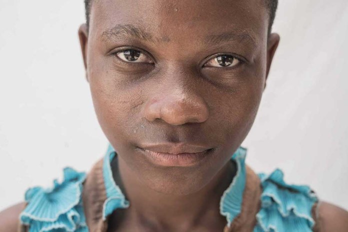 A portrait of a young girl from Mwanza in Tanzania.
