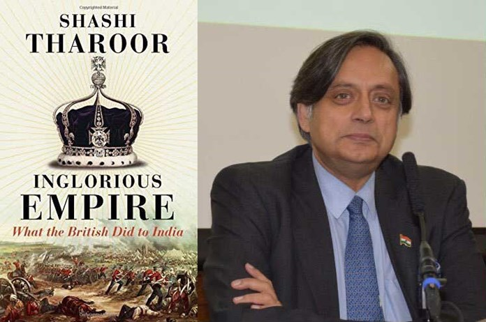 The cover of Inglorious Empire by Shashi Tharoor and a portrait of the author.