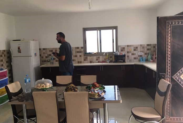 Inside a newly rebuilt Palestinian home.
