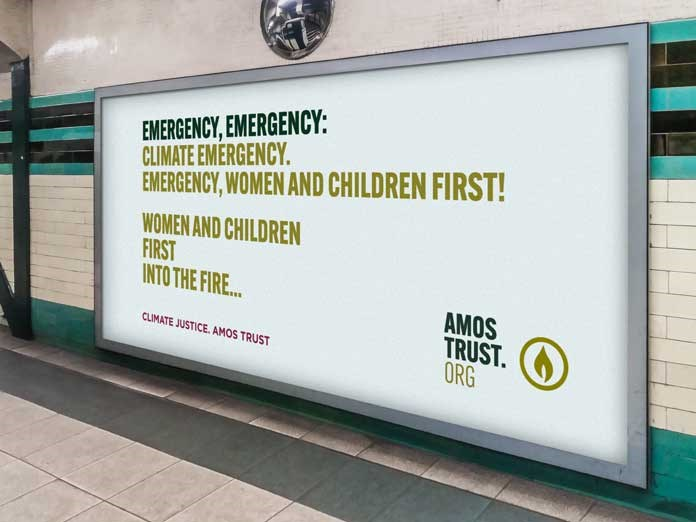 A London Tube billboard containing a section of Robin Message's climate Justice poem.