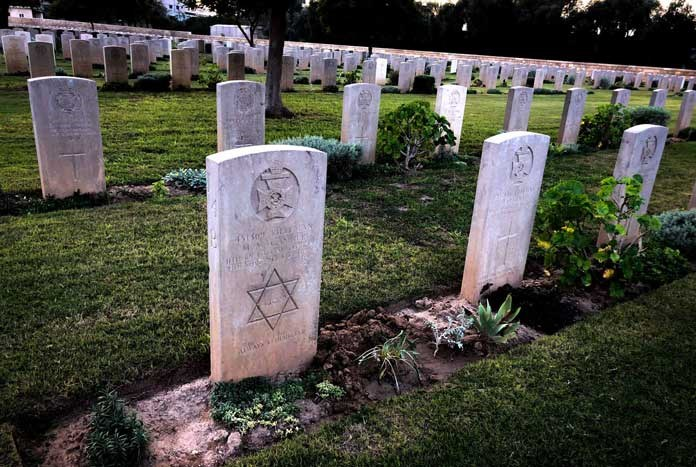Jewish graves in the British and Commonwealth War Cemetery in Gaza.