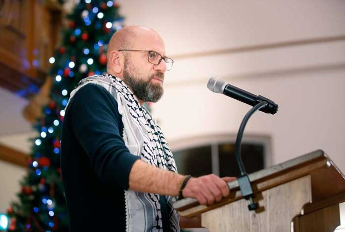 Sami Awad from Holy Land Trust in Bethlehem, speaking in West Yorkshire, England – December 2019