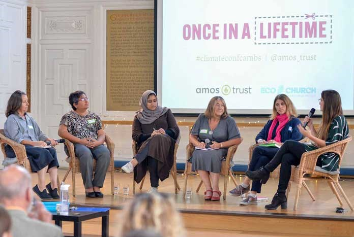 Amos Trust's Karin Joseph (far right), moderating the Women's panel at Amos' first Climate Justice summit — Cambridge, September 2019