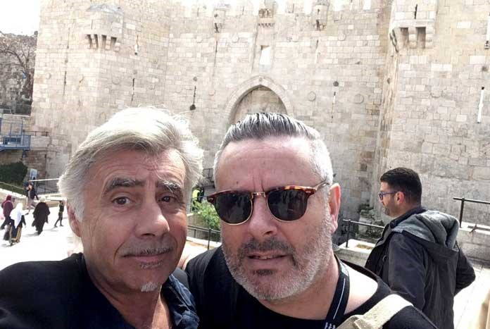 Glen Matlock and Amos Trust's Nick Welsh in Jerusalem — April 2019