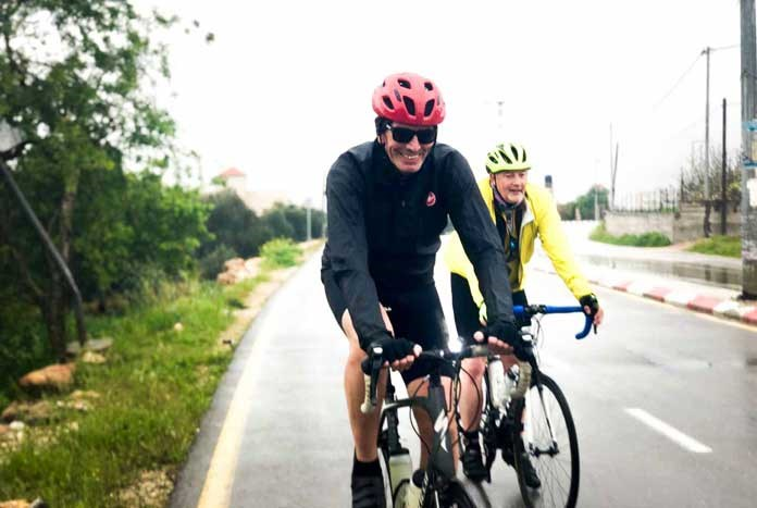 Amos Trust's Director Chris Rose cycling through the West with Amos Road Club.