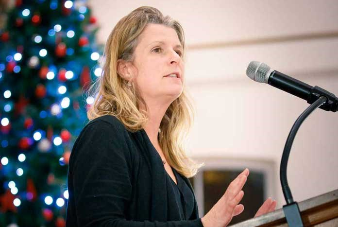 Katie Hagley speak at the Amos Trust Advent Bethlehem carol service in West Yorkshire – December 2019