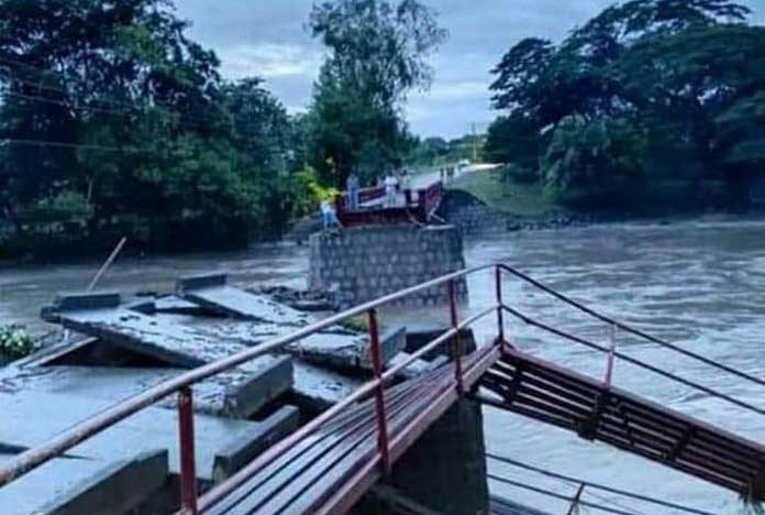 The bridge in Teustepe, Nicaragua which has been completely washed away by recent hurricane's – November 2020